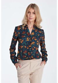 Nife - Elegancka Koszulowa Bluzka z Dekoltem w Szpic - Wzór Brąz. Kolor: brązowy. Materiał: poliester, elastan. Styl: elegancki