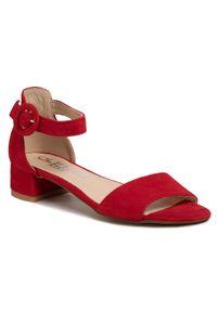 Czerwone sandały Oleksy na obcasie, na średnim obcasie
