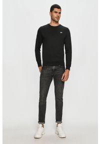 Czarna bluza nierozpinana Lacoste bez kaptura, na co dzień, z aplikacjami