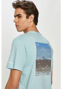 Niebieski t-shirt columbia z nadrukiem