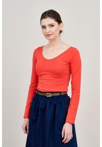 Marie Zélie - Bluzka Inzolia czerwień wiosenna. Kolor: czerwony. Materiał: bawełna, dzianina, materiał, elastan, skóra. Długość rękawa: długi rękaw. Długość: długie. Sezon: wiosna