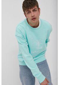 adidas Originals - Bluza bawełniana. Okazja: na co dzień. Kolor: turkusowy. Materiał: bawełna. Wzór: nadruk. Styl: casual