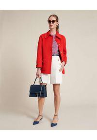 Luisa Spagnoli - LUISA SPAGNOLI - Czerwony płaszcz Vento. Okazja: na co dzień, do pracy. Kolor: czerwony. Materiał: tkanina. Styl: casual