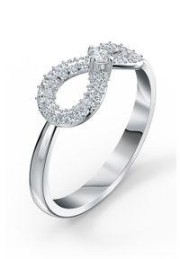 Srebrny pierścionek Swarovski z kryształem, metalowy, z aplikacjami