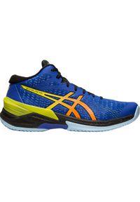 Niebieskie buty do siatkówki Asics w kolorowe wzory, z cholewką