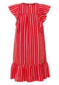 Sukienka z falbanami bonprix czerwono-jasnoróżowy w paski. Kolor: czerwony. Wzór: paski