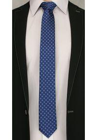 Granatowy Elegancki Krawat w Niebieskie Kwadraciki -Angelo di Monti- 6 cm, Męski, Geometryczny Wzór. Kolor: niebieski. Wzór: geometria. Styl: elegancki