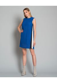 Pinko - PINKO - Sukienka z fakturą. Kolor: niebieski. Materiał: tkanina. Długość rękawa: na ramiączkach. Wzór: ażurowy