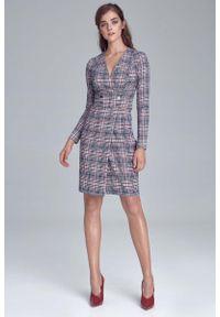 Nife - Dopasowana Sukienka z Kopertowym Dekoltem w Kratkę. Materiał: poliester, wiskoza, elastan. Wzór: kratka. Typ sukienki: kopertowe