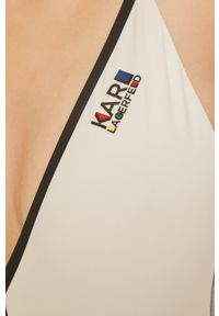 Srebrny strój kąpielowy Karl Lagerfeld z nadrukiem