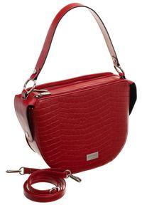 Czerwona torebka Badura z tłoczeniem, na ramię