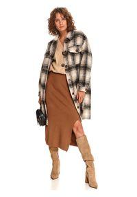 TOP SECRET - Dzianinowa spódnica midi z rozcięciem. Kolor: brązowy. Materiał: dzianina. Sezon: zima