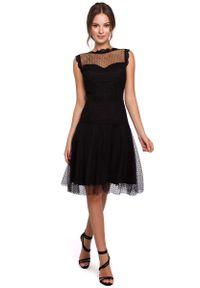 MAKEOVER - Czarna Zwiewna Tiulowa Sukienka z Koronką. Kolor: czarny. Materiał: tiul, koronka. Wzór: koronka