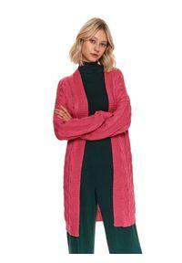 TOP SECRET - Kardigan długi rękaw damski luźny. Kolor: różowy. Długość rękawa: długi rękaw. Długość: długie. Wzór: ze splotem