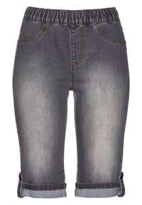 Bermudy dżinsowe z gumką w talii bonprix szary denim. Kolor: szary