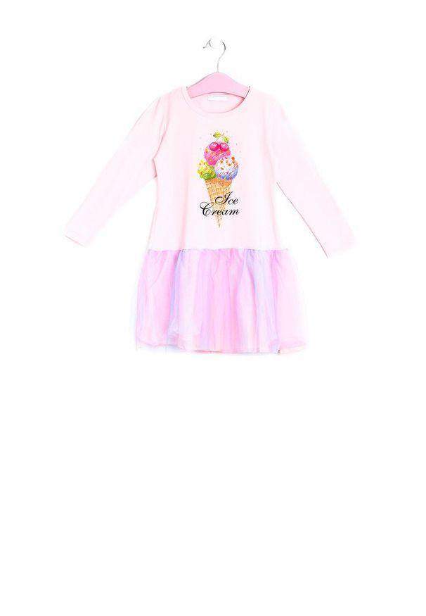 Born2be - Jasnoróżowa Sukienka Histrionic. Kolor: różowy. Materiał: tiul, materiał. Długość rękawa: długi rękaw. Wzór: aplikacja, kolorowy. Typ sukienki: rozkloszowane
