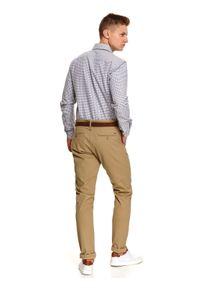 TOP SECRET - Koszula z tkaniny oxford w drobną kratę. Kolor: szary. Materiał: tkanina. Długość: długie. Sezon: zima. Styl: elegancki, klasyczny