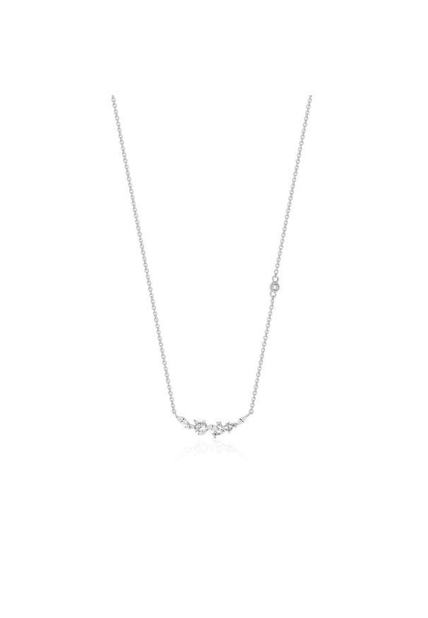 W.KRUK Zjawiskowy Naszyjnik - srebro 925, Cyrkonia - SHX/NC113. Materiał: srebrne. Wzór: ażurowy. Kamień szlachetny: cyrkonia