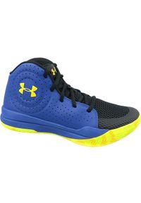 Niebieskie buty do koszykówki Under Armour z cholewką, w kolorowe wzory