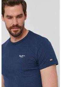 Pepe Jeans - T-shirt Basic. Kolor: niebieski. Materiał: dzianina. Wzór: gładki