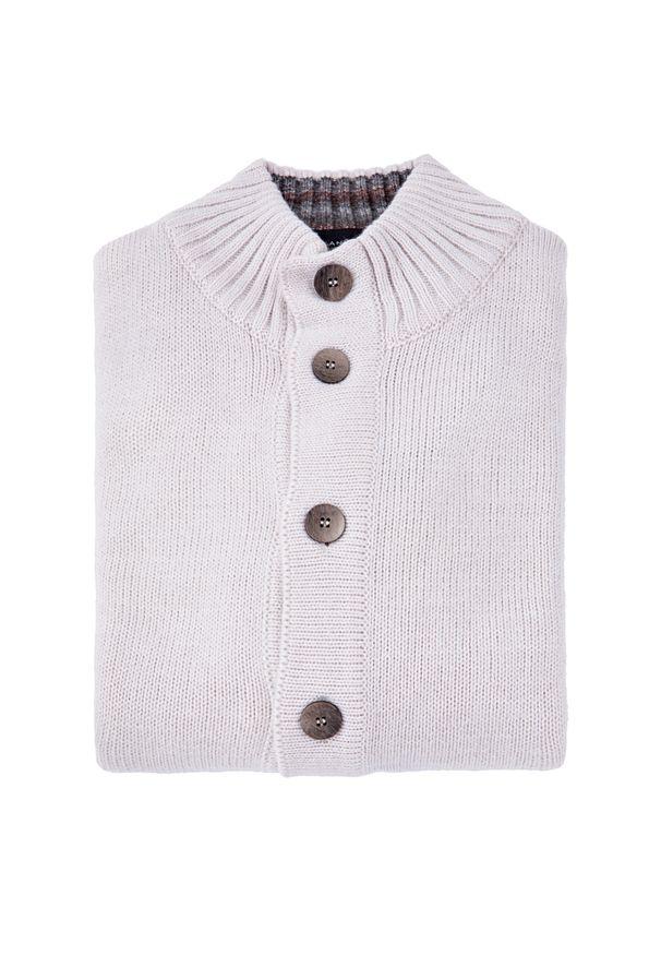 Beżowy sweter Lancerto na zimę, w kolorowe wzory