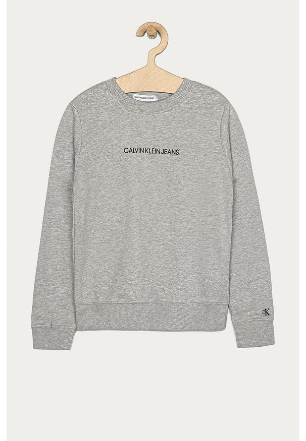 Szara bluza Calvin Klein Jeans z kapturem, casualowa