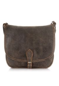 Skórzana torba listonoszka damska vintage PAOLO PERUZZI GA301 j.brązowa. Kolor: brązowy. Materiał: skórzane. Styl: vintage