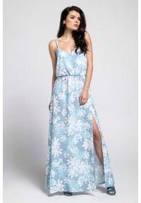 Nommo - Niebieska Zwiewna Maxi Sukienka na Cienkich Ramiączkach z Rozcięciem. Kolor: niebieski. Materiał: wiskoza, poliester. Długość rękawa: na ramiączkach. Wzór: kwiaty. Długość: maxi