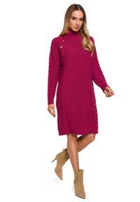 MOE - Sukienka z Golfem i Guzikami - Różowa. Typ kołnierza: golf. Kolor: różowy. Materiał: poliamid, akryl