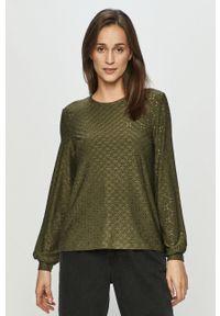 Zielona bluzka Jacqueline de Yong w koronkowe wzory, casualowa