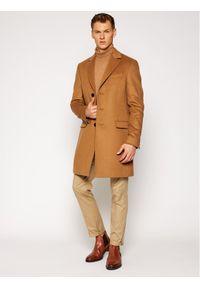 TOMMY HILFIGER - Tommy Hilfiger Tailored Płaszcz wełniany Wool Blend TT0TT08117 Brązowy Regular Fit. Kolor: brązowy. Materiał: wełna #4