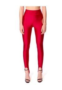 AGGI - Czerwone legginsy Winnie. Stan: podwyższony. Kolor: czerwony. Materiał: materiał. Sezon: lato. Styl: wizytowy, sportowy
