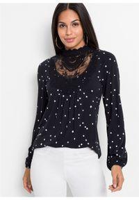 Shirt z długim rękawem z nadrukiem i koronką bonprix czarno-biały w kropki. Kolor: czarny. Materiał: koronka. Długość rękawa: długi rękaw. Długość: długie. Wzór: nadruk, kropki, koronka