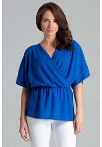 Niebieska bluzka Katrus z kopertowym dekoltem