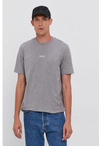 BOSS - Boss - T-shirt. Kolor: szary. Materiał: dzianina. Wzór: gładki