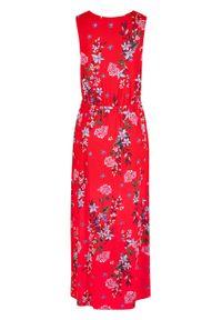 Długa sukienka w kwiaty bonprix truskawkowy w kwiaty. Kolor: czerwony. Wzór: kwiaty. Długość: maxi