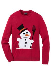 Sweter z bożonarodzeniowym motywem bonprix ciemnoczerwony. Kolor: czerwony. Materiał: akryl, materiał