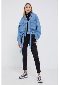 Dr. Denim - Koszula bawełniana jeansowa. Kolor: fioletowy. Materiał: jeans, denim, bawełna. Długość rękawa: długi rękaw. Długość: długie