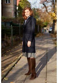 Marie Zélie - Płaszcz wełniany Debora granatowy. Kolor: niebieski. Materiał: wełna. Wzór: motyw zwierzęcy. Sezon: zima. Styl: klasyczny #10