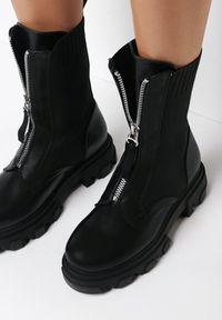 Born2be - Czarne Botki Meniphise. Okazja: na co dzień. Wysokość cholewki: przed kolano. Nosek buta: okrągły. Zapięcie: zamek. Kolor: czarny. Materiał: jeans, materiał. Szerokość cholewki: normalna. Styl: casual