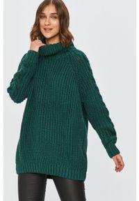 Zielony sweter Answear Lab długi, z długim rękawem, wakacyjny, z golfem