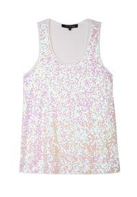 Biały t-shirt TOP SECRET w kolorowe wzory, na ramiączkach, na imprezę, elegancki