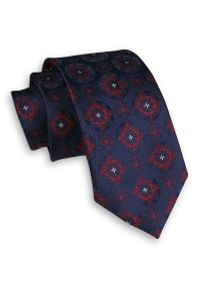 Alties - Granatowo-Czerwony Elegancki Męski Krawat -ALTIES- 7 cm, Klasyczny, w Koła, Wzór Geometryczny. Kolor: niebieski, czerwony, wielokolorowy. Materiał: tkanina. Wzór: geometria. Styl: klasyczny, elegancki