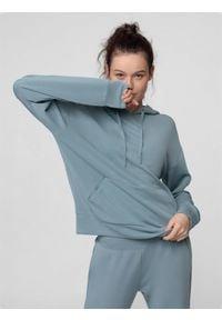 4f - Bluza treningowa damska z modalu. Typ kołnierza: kaptur. Materiał: włókno, dzianina