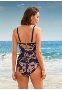 Kostium kąpielowy shape Level 1 bonprix ciemnoniebiesko-stary jasnoróżowy z nadrukiem. Kolor: niebieski. Wzór: nadruk