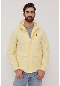 Żółta kurtka Lyle & Scott casualowa, z kapturem, gładkie, na co dzień