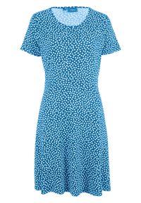 Sukienka z dżerseju z zaznaczoną talią bonprix lodowy niebieski - biały w kropki. Kolor: niebieski. Materiał: jersey. Wzór: kropki