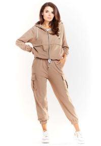 Infinite You - Beżowe Dresowe Spodnie z Kieszeniami Typu Cargo. Kolor: beżowy. Materiał: dresówka