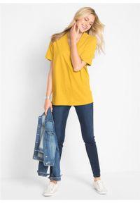 Długi shirt z dekoltem w szpic (5 sztuk), krótki rękaw bonprix żółty kanarkowy + kremowy miętowy + morelowy + czarny + biały. Kolor: żółty. Długość rękawa: krótki rękaw. Długość: krótkie #6