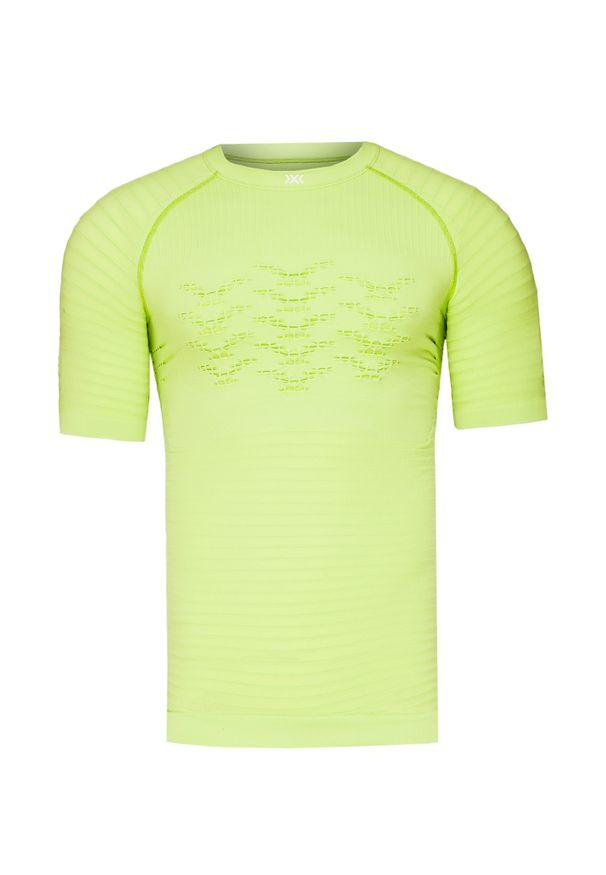 Zielona koszulka termoaktywna X-Bionic z asymetrycznym kołnierzem, z krótkim rękawem